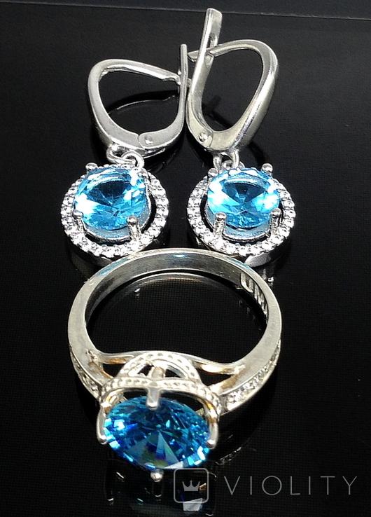 Кольцо, серьги, голубой камень, цирконы, фото №2