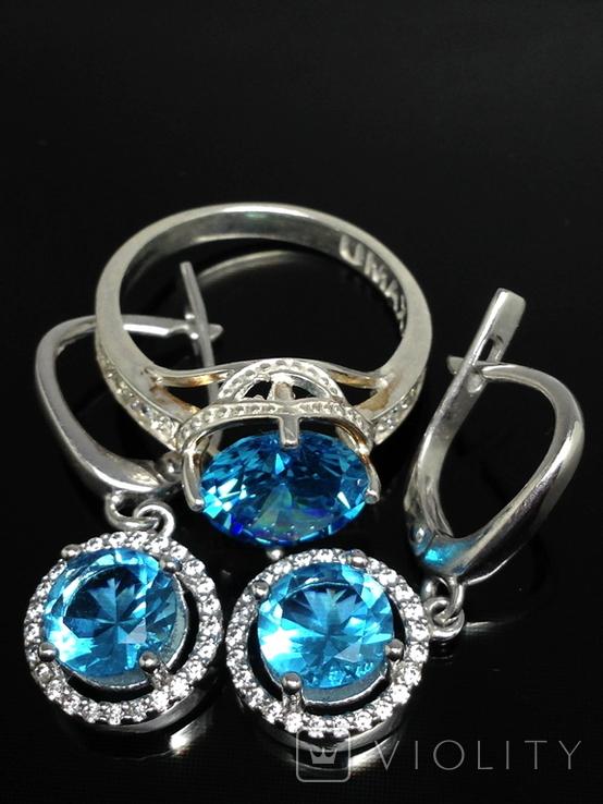 Кольцо, серьги, голубой камень, цирконы, фото №3