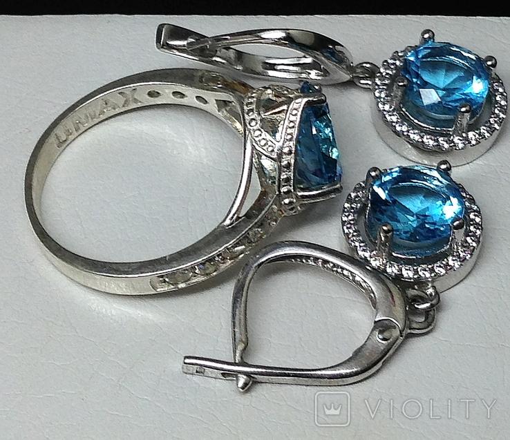 Кольцо, серьги, голубой камень, цирконы, фото №7