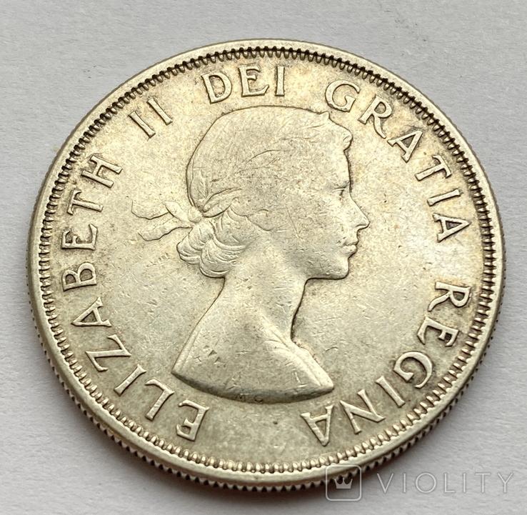 Канада 50 центов 1957 года Серебро, фото №3