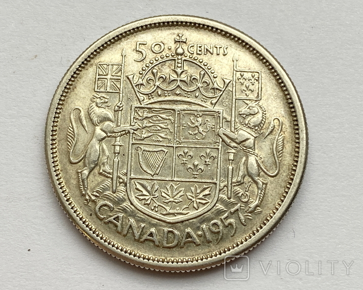 Канада 50 центов 1957 года Серебро, фото №4