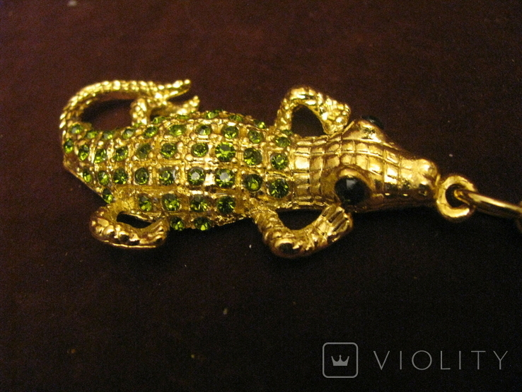Брелок - Крокодил - металл,стразы., фото №4