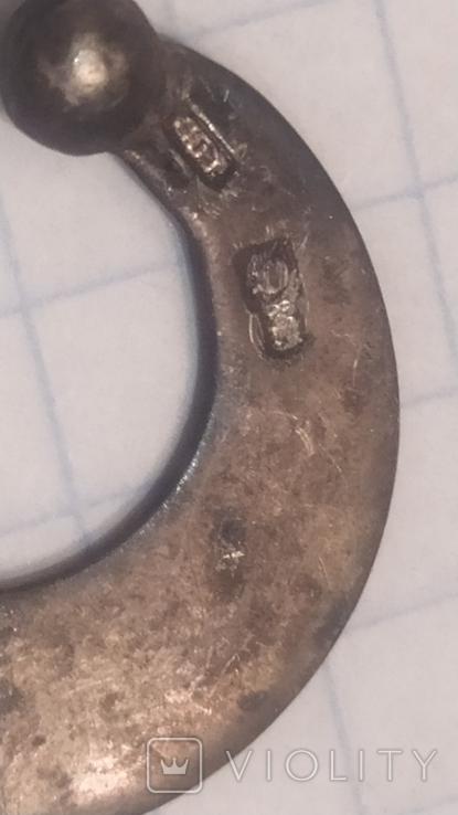 Серебряный кулон или серьга 0,88 грам 875 проба, фото №6