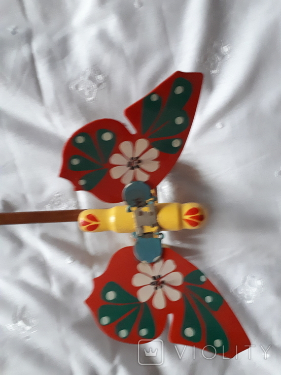 Старая игрушка Бабочка каталка, фото №3