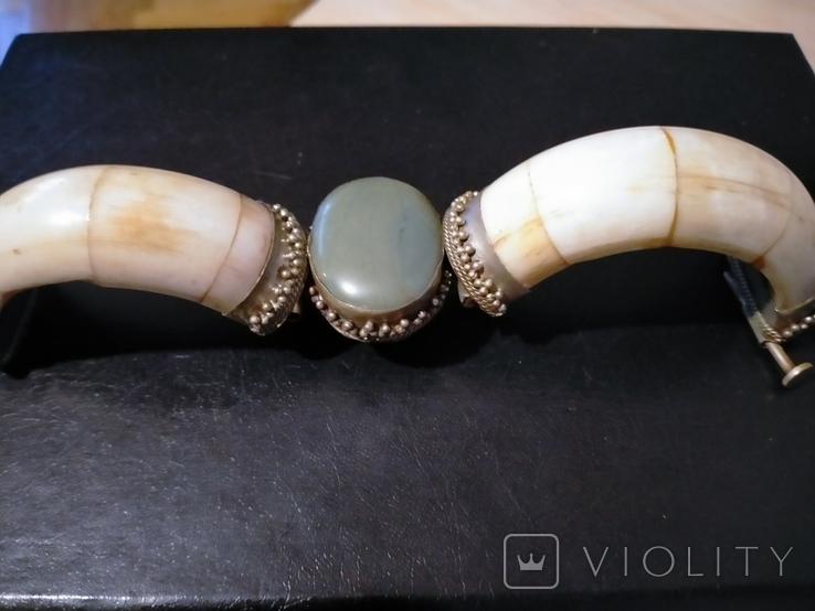 Браслет из бивня моржа, латунными креплениями и камнем, фото №6