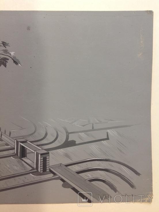 1964  Пейзаж. Орошение. Барчук И.И. 21,5х29, фото №5