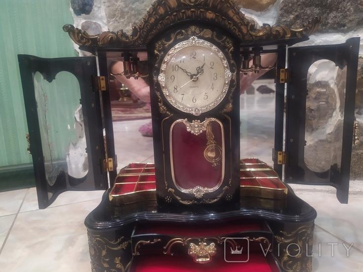 Часы музыкальная шкатулка для украшений интерьерные, фото №5