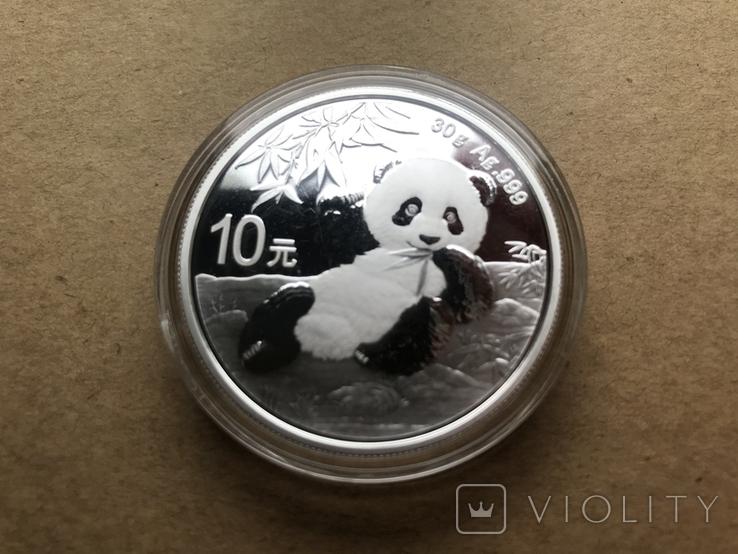 Панда Китай 10 юаней 2020 серебро 999 пробы, фото №2