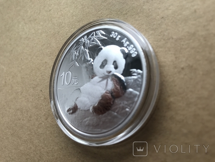 Панда Китай 10 юаней 2020 серебро 999 пробы, фото №4