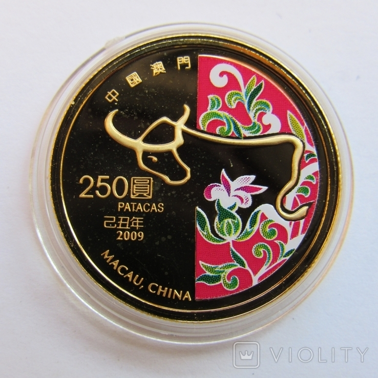 250 патак 2009 г. Китай (7,78 г. 999,9) PROOF, фото №2