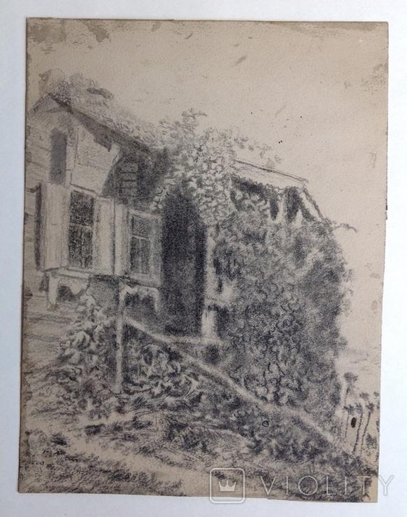 1900-е  Пейзаж с домом. н/х 24,5х18,5 бумага уголь, фото №8