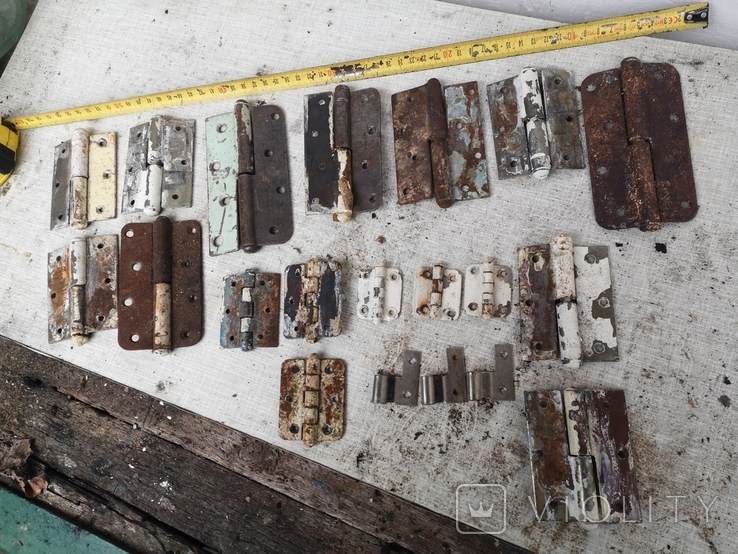 Петли завесы дверные металлические б/у много уборка гаража, фото №2