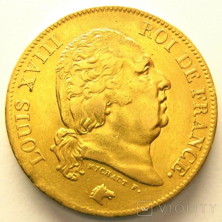 Франция 40 франков 1817 г., фото №2