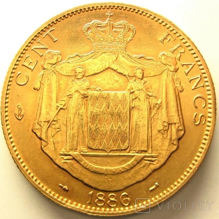Монако 100 франков 1886 г., фото №3