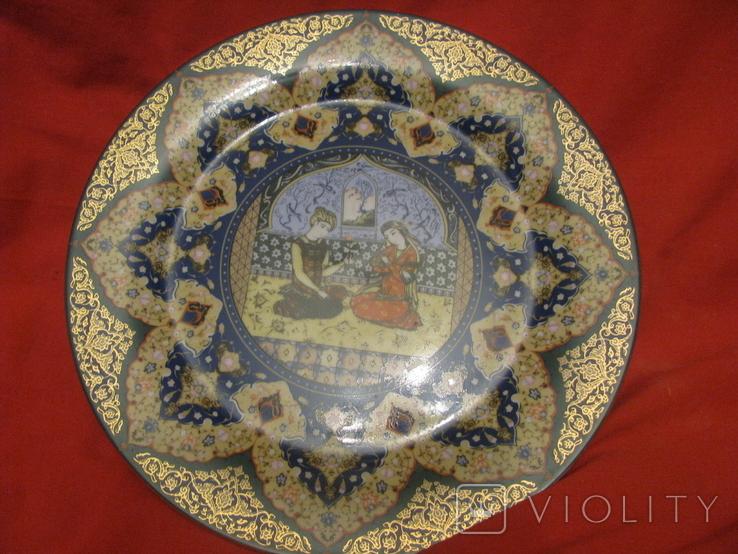 Декоративное настенное блюдо - Восточный мотив - фарфор - диаметр -27,5 см., фото №8