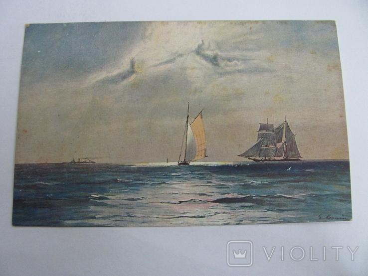 Дореволюционная открытка, печать Германии, Парусник№4, фото №2