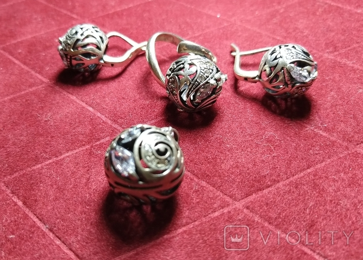 Гарнитур, серебро 925, фото №3