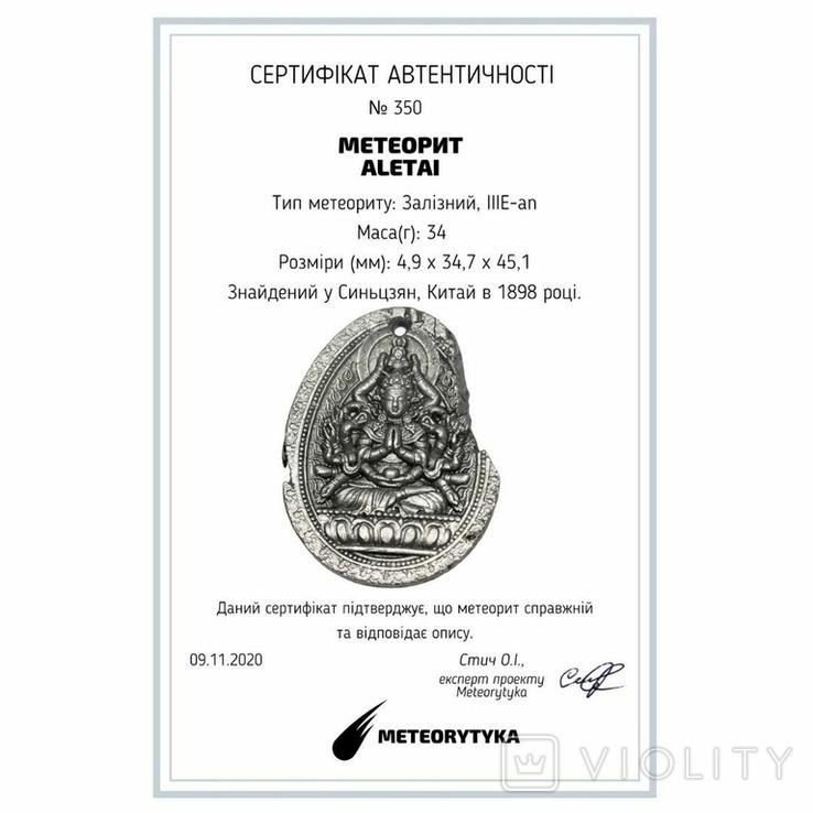 """Кулон """"Тисячарука Гуаньїнь"""" з метеорита Aletai, 34 грам, із сертифікатом автентичності, фото №3"""