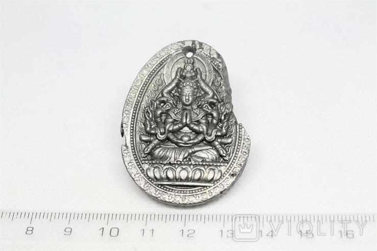 """Кулон """"Тисячарука Гуаньїнь"""" з метеорита Aletai, 34 грам, із сертифікатом автентичності, фото №4"""