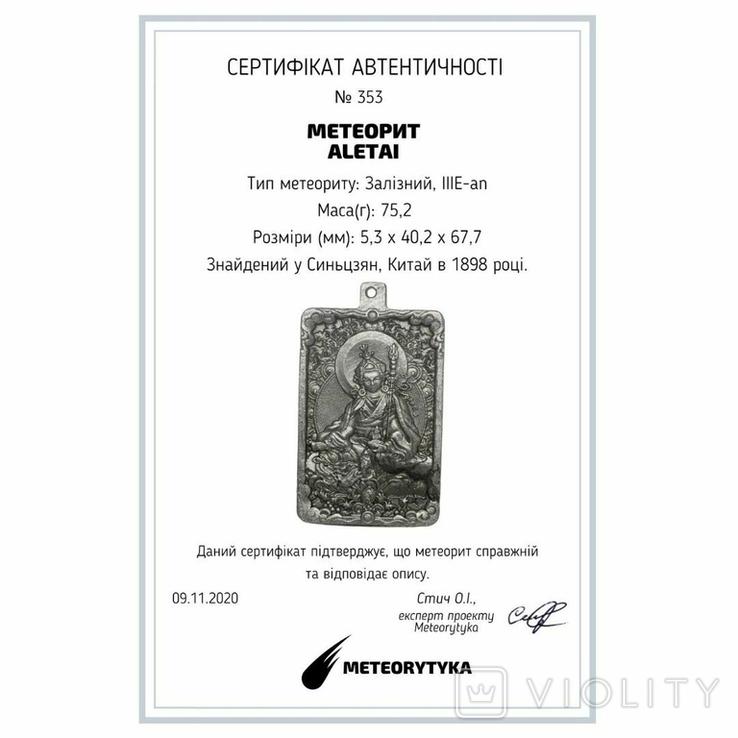 """Кулон """"Гуру Падмасамбхава"""" із  метеорита Aletai, 75,2 грам, із сертифікатом автентичності, фото №3"""