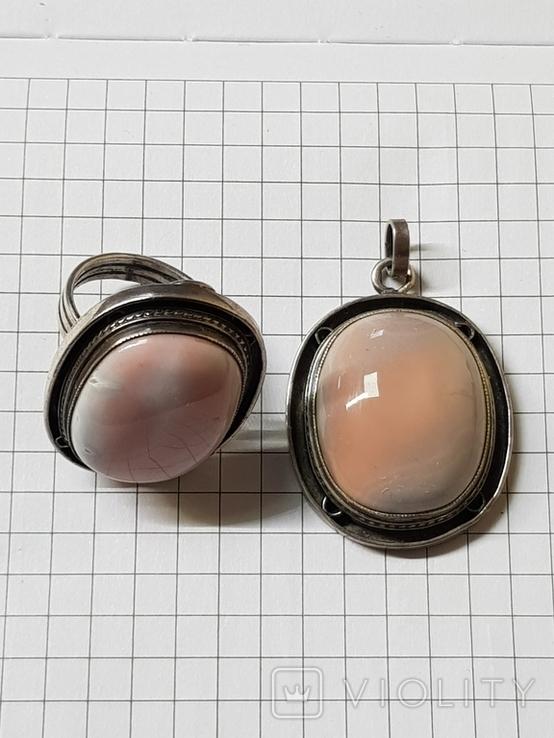 Серебряные кольцо и кулон с сердоликом Ручная работа, фото №2