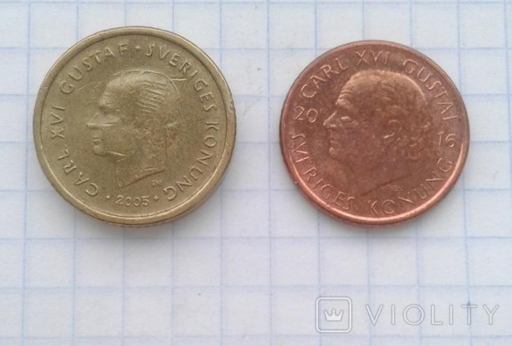 Швеция 10 крон 2005 года, 1 крона 2016 года, фото №2