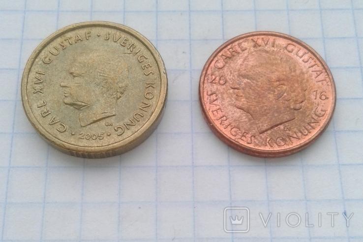 Швеция 10 крон 2005 года, 1 крона 2016 года, фото №3
