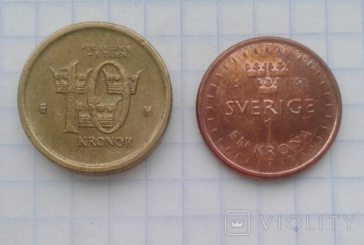 Швеция 10 крон 2005 года, 1 крона 2016 года, фото №4