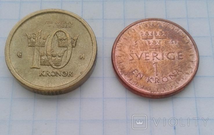 Швеция 10 крон 2005 года, 1 крона 2016 года, фото №5