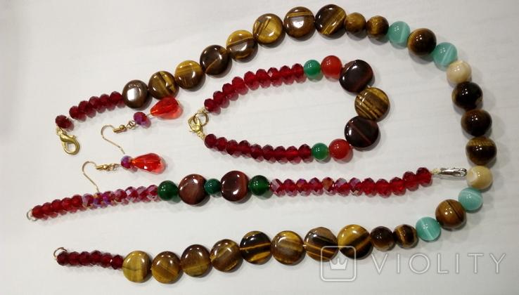 """Натуральный камень ожерелье серьги браслеты""""кошачий глазкристаллы блеск под сваровски"""