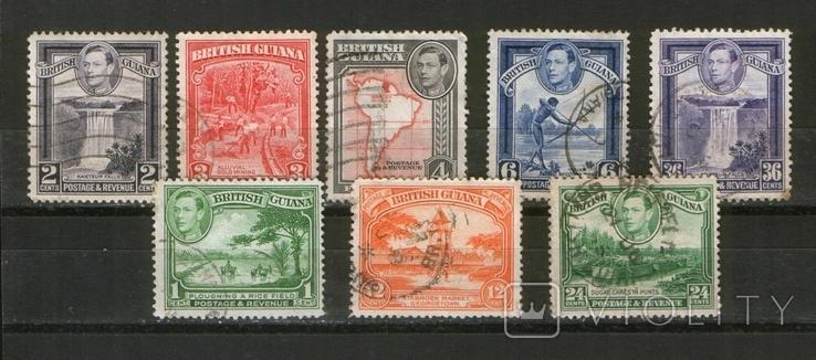Брит. колонии. 1938 Британская Гвиана, типы, карта, виды, лот 8 шт.