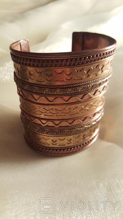 Медный браслет со вставками из латуни, фото №3