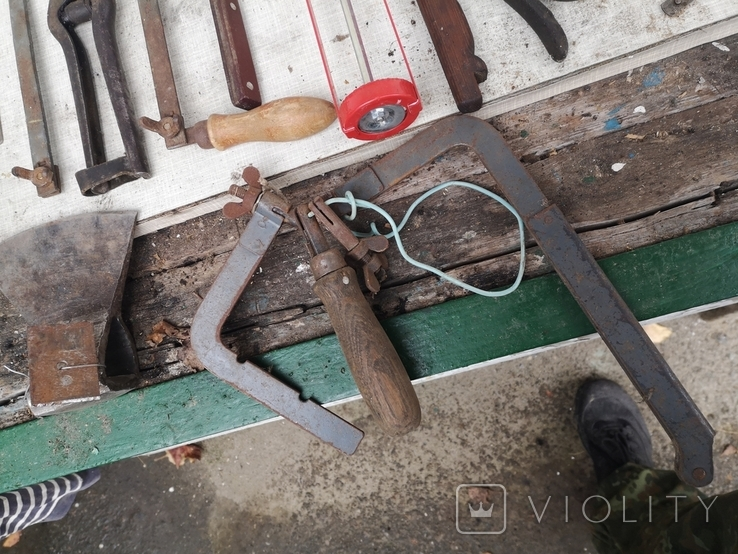 Уборка гаража инструменты СССР топор ножовка ножницы  кипятильник кельма, фото №8