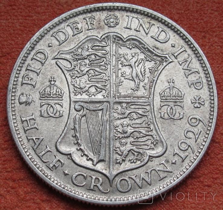 1/2 кроны 1929 г. Великобритания, серебро, фото №2