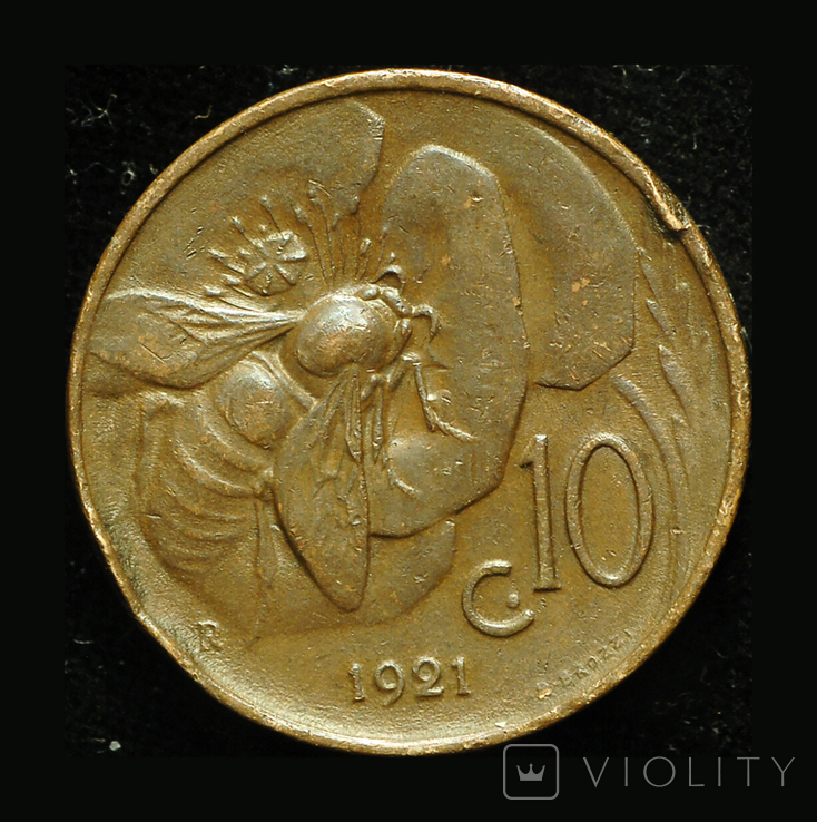 Италия 10 чентезими 1921, фото №3