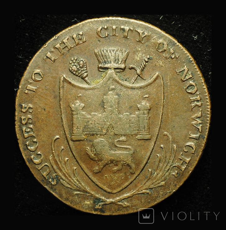 Великобритания 1/2 пенни 1792 Норвич, фото №3