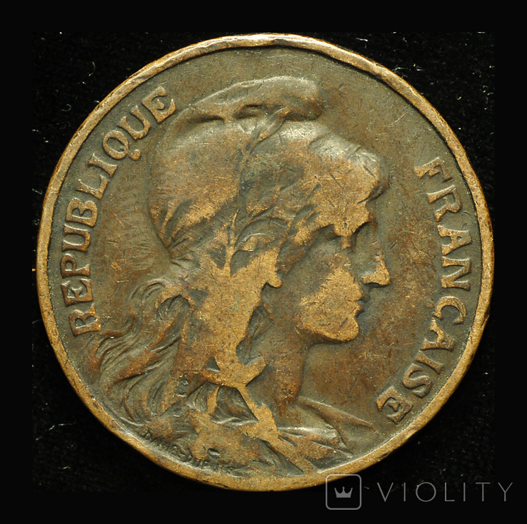 Франция 10 сантим 1899, фото №2