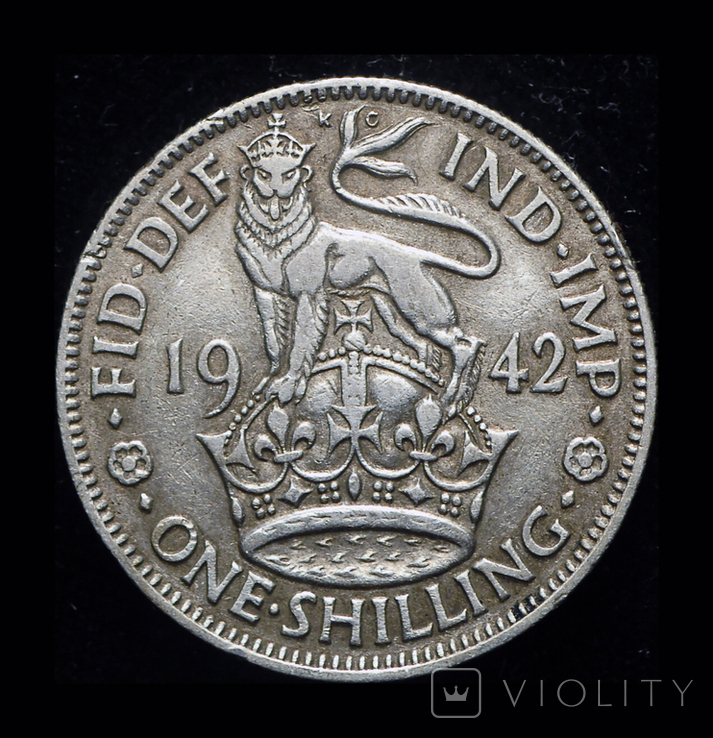Великобритания шиллинг 1942 серебро, фото №2