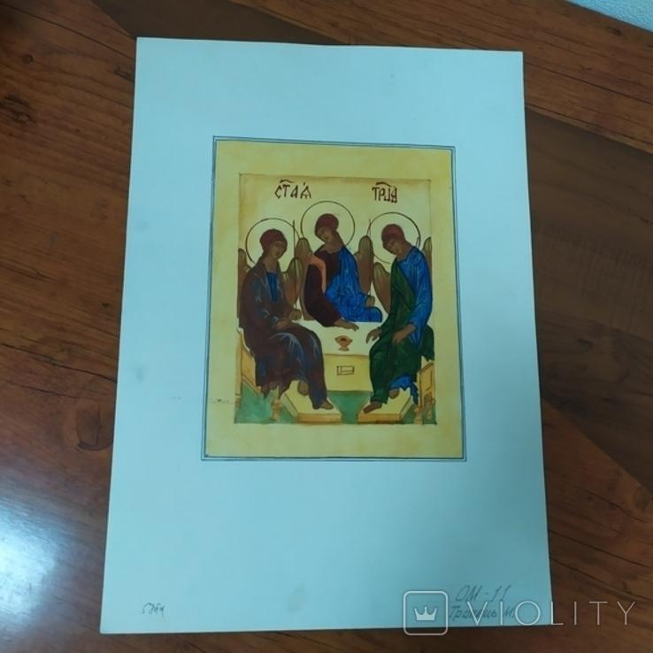 Акварельная работа+гуашь на тему Святая троица. 295х420мм (9.20), фото №2