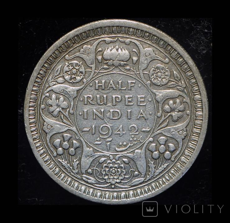 Британская Индия 1/2 рупии 1942 серебро, фото №2