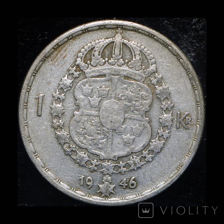 Швеция крона 1946 серебро, фото №2