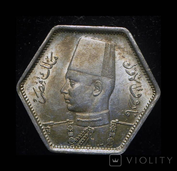 Египет 2 пиастра 1944 Unc серебро, фото №2