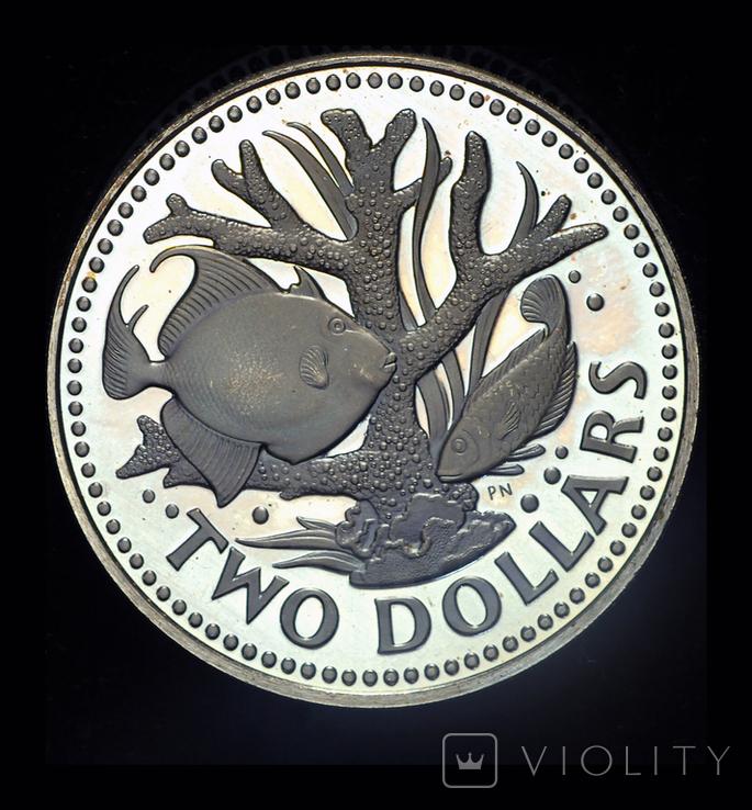 Барбадос 2 доллара 1974 пруф, фото №2
