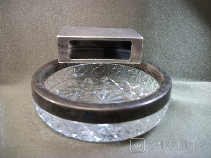 Н61 Серебряный чехол для коробки спичек и хрустальная пепельница с кантом из серебра, СССР, фото №7