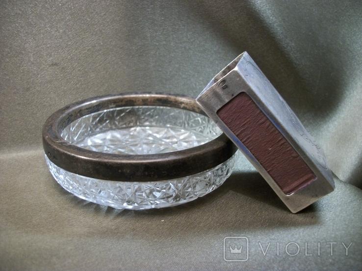 Н61 Серебряный чехол для коробки спичек и хрустальная пепельница с кантом из серебра, СССР, фото №8
