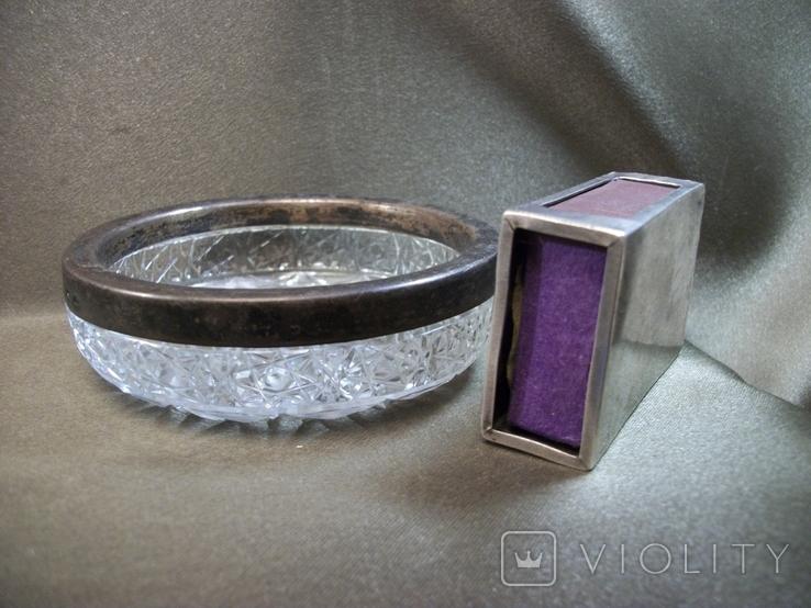 Н61 Серебряный чехол для коробки спичек и хрустальная пепельница с кантом из серебра, СССР, фото №10