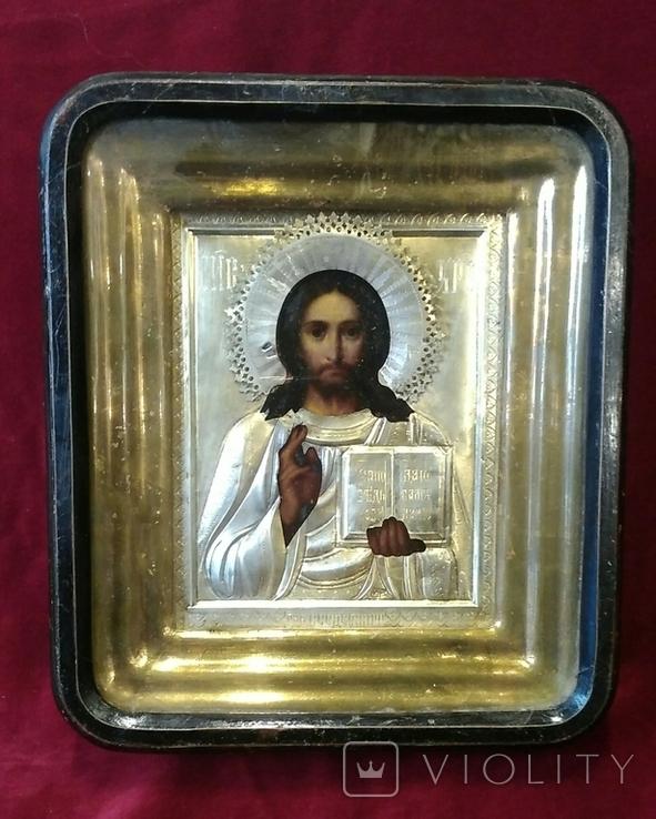 Икона в киоте. Господь Вседержитель, в серебряном окладе, фото №2