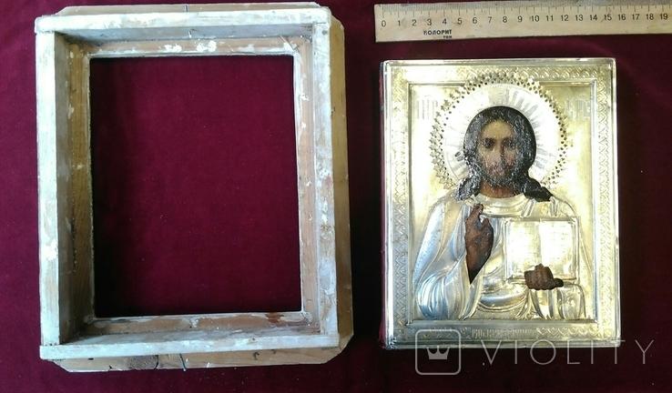 Икона в киоте. Господь Вседержитель, в серебряном окладе, фото №4