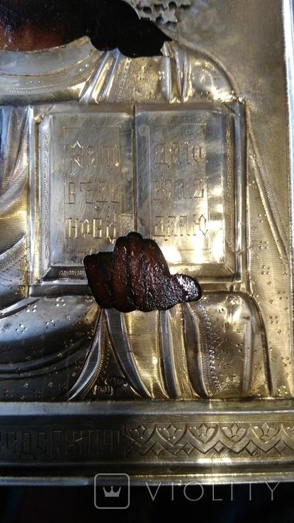 Икона в киоте. Господь Вседержитель, в серебряном окладе, фото №8