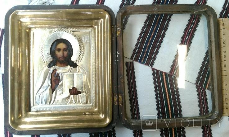Икона в киоте. Господь Вседержитель, в серебряном окладе, фото №11